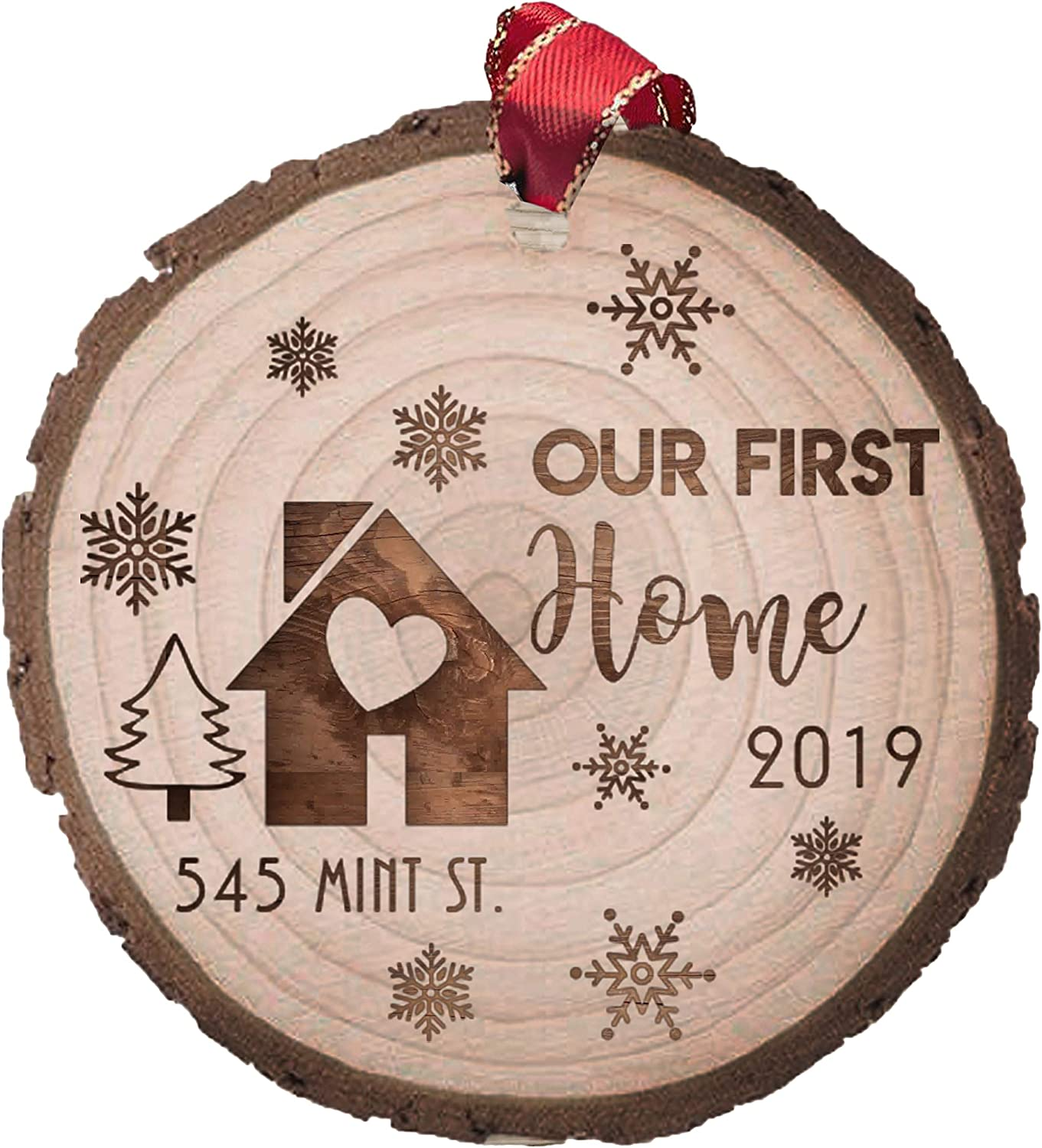 Our First House Customized Christmas Ornament, Laser Engraved Wood Slice, New House Gift, Gift for Couples, Family Name Personalized Decor (Option 2)