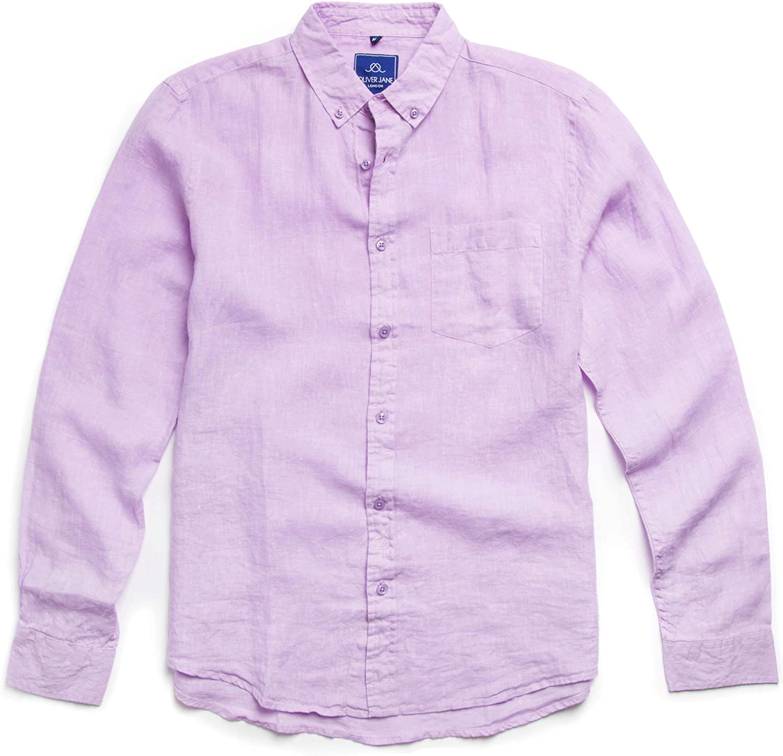 Oliver Jane - Camisa de Playa de Lino para Hombre, Color Lila: Amazon.es: Ropa y accesorios