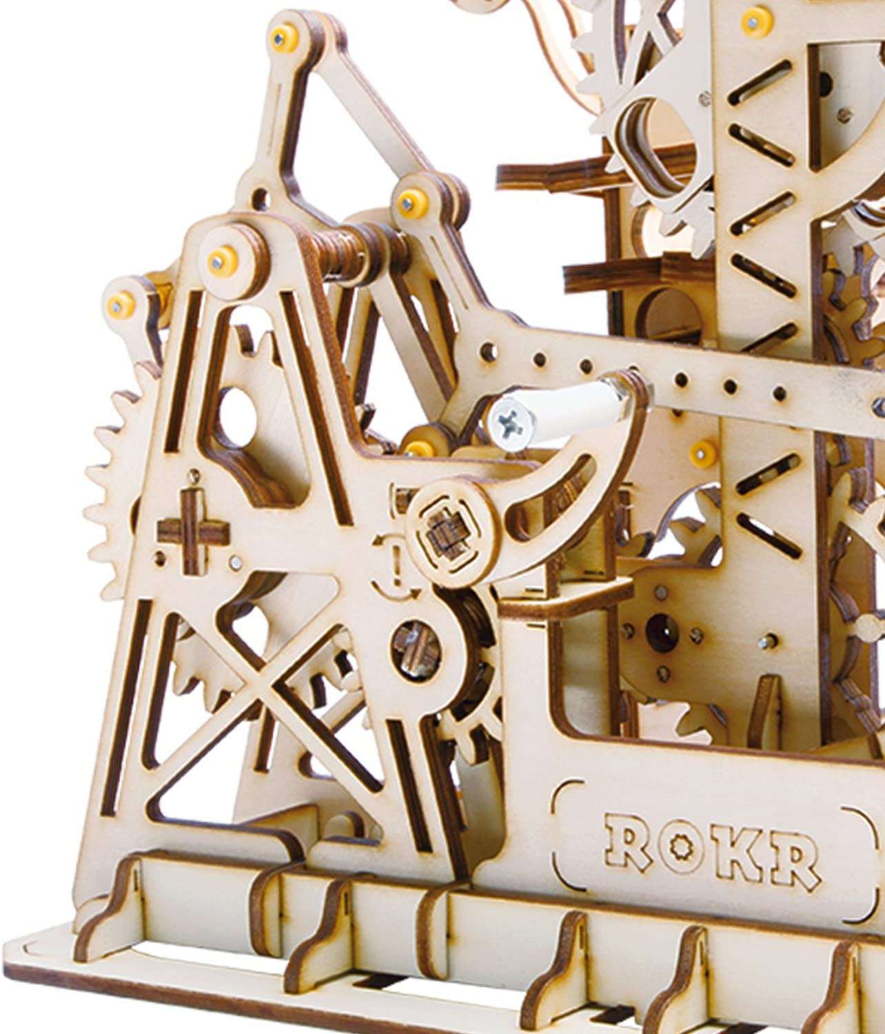 ROBOTIME 3D Wooden Puzzle Brain Teaser Toys Mechanical Gears Kit Unique Craft Kits Tower Coaster with Steel Balls Executive Desk Toys Best Gifts for Adults and Kids