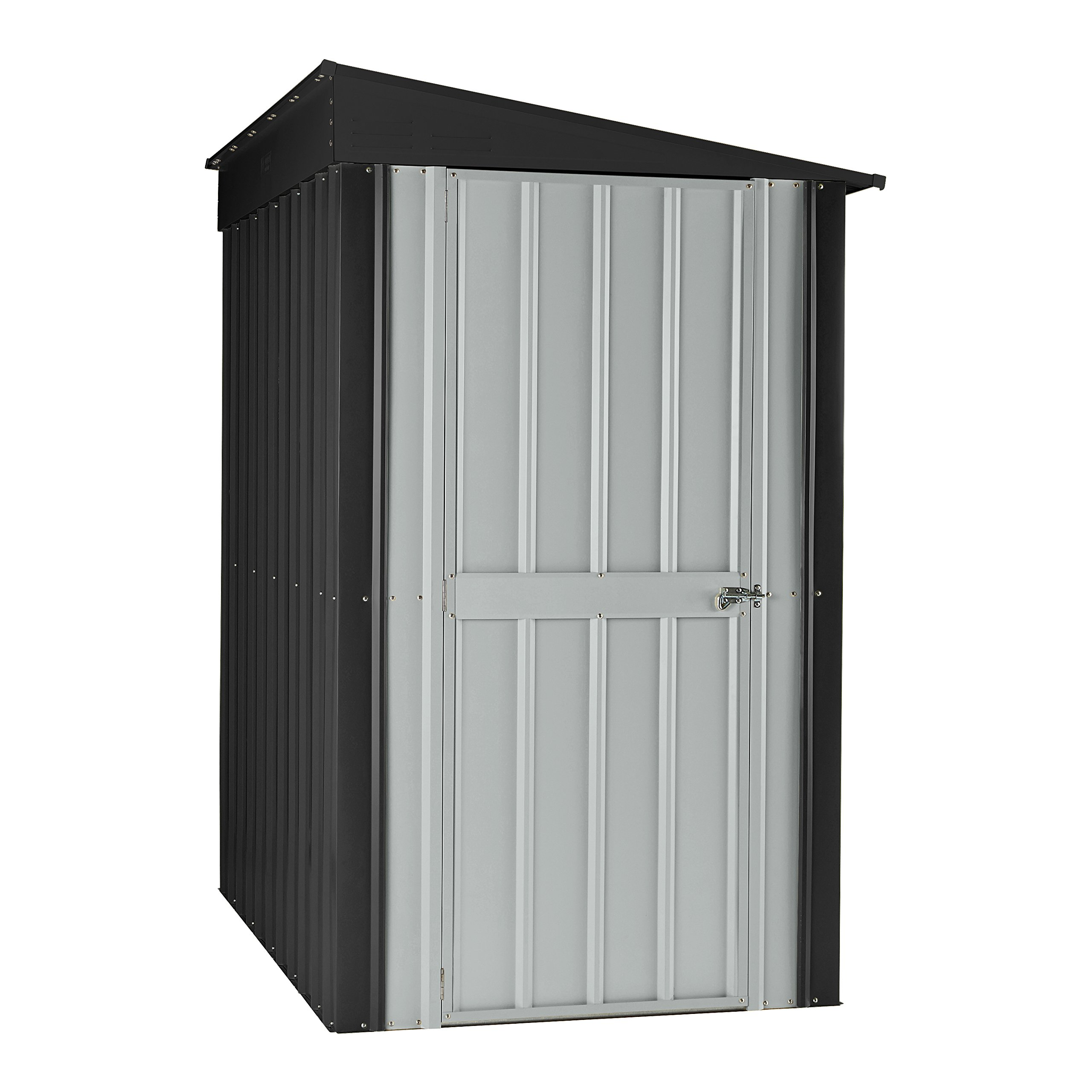 Globel 4x6 Lean-To Steel Storage Shed Slate Grey and Aluminum White