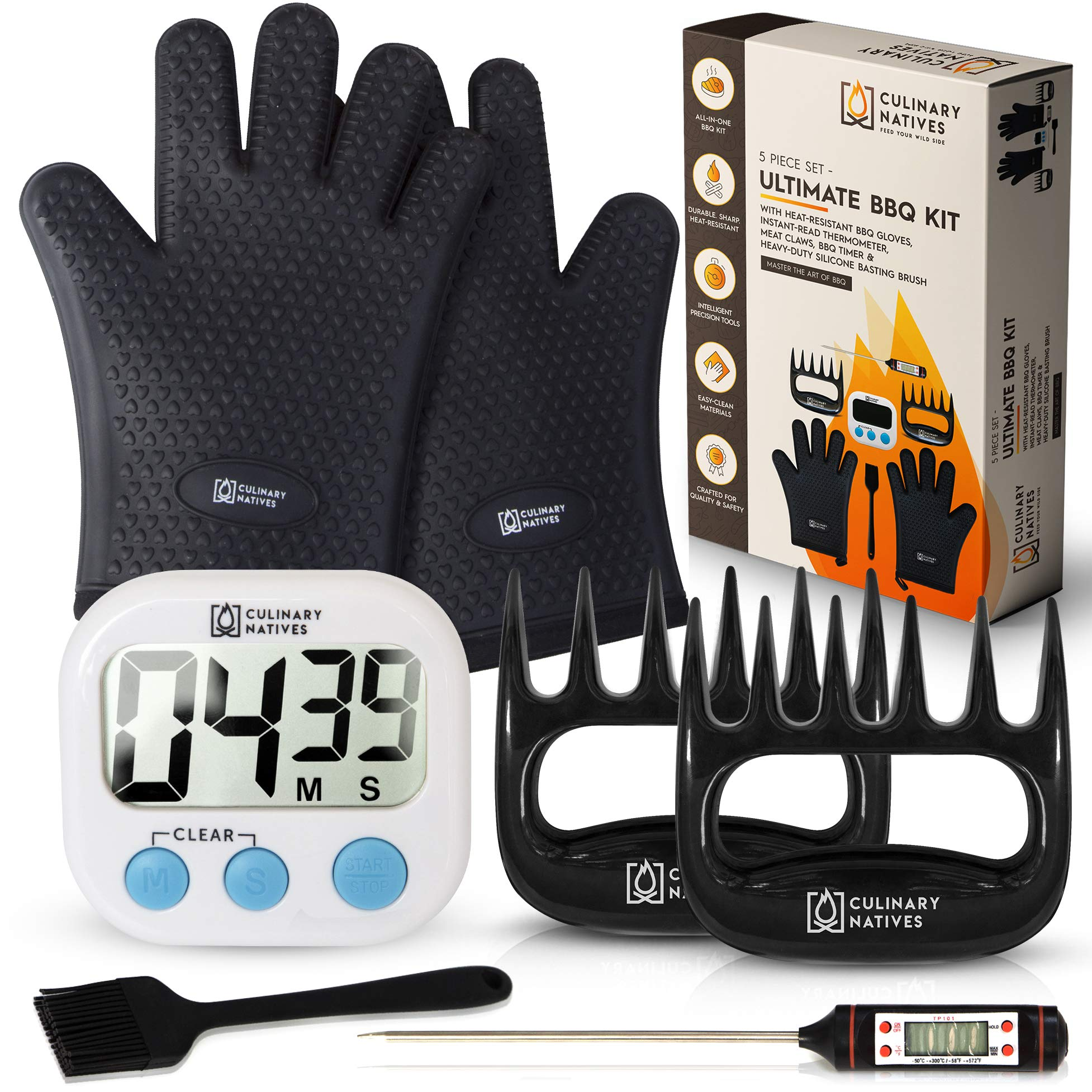 Culinary Natives | BBQ Gloves, Meat Shredder Claws, Timer, Thermometer, and Brush | No.1 Kit for Pulled Pork | 7n1 Smoker Accessories/Tools for Grilling by Culinary Natives