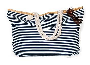 b0905ddb513c6 Kandharis Strandtasche Badetasche Große Sommertasche Schultertasche Shopper  mit Reissverschluss Streifen Muster XL Damen ST-02