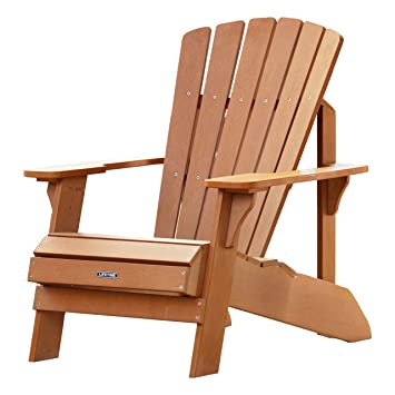 Perfect Lifetime Faux Wood Adirondack Chair, Light Brown   60064