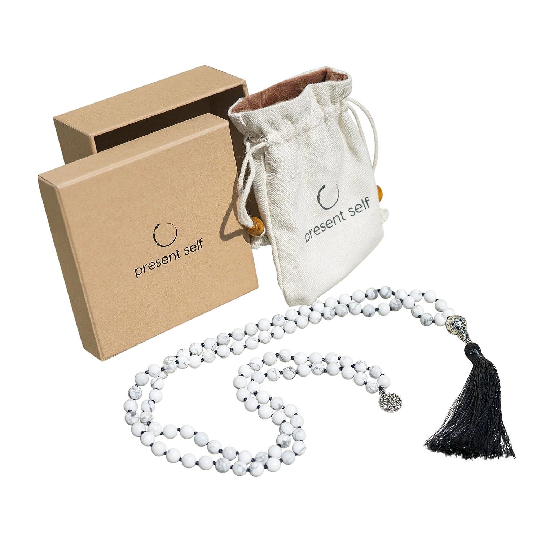 Japa Mala Beads Long Necklace - White Howlite Tassel Necklace - Buddha Necklace - Meditation Beads - Tibetan Prayer Beads by Present Self Mala-Black