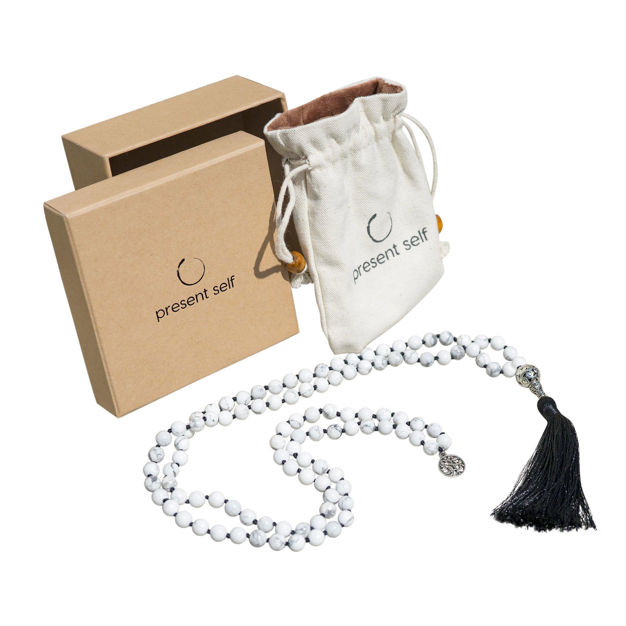 Japa Mala Beads Long Necklace - White Howlite Tassel Necklace - Buddha Necklace - Meditation Beads - Tibetan Prayer Beads by Present Self