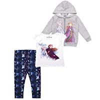 3-Piece Frozen II Leggings Set for Girls with Elsa Shirt and Zip-Up Hoodie