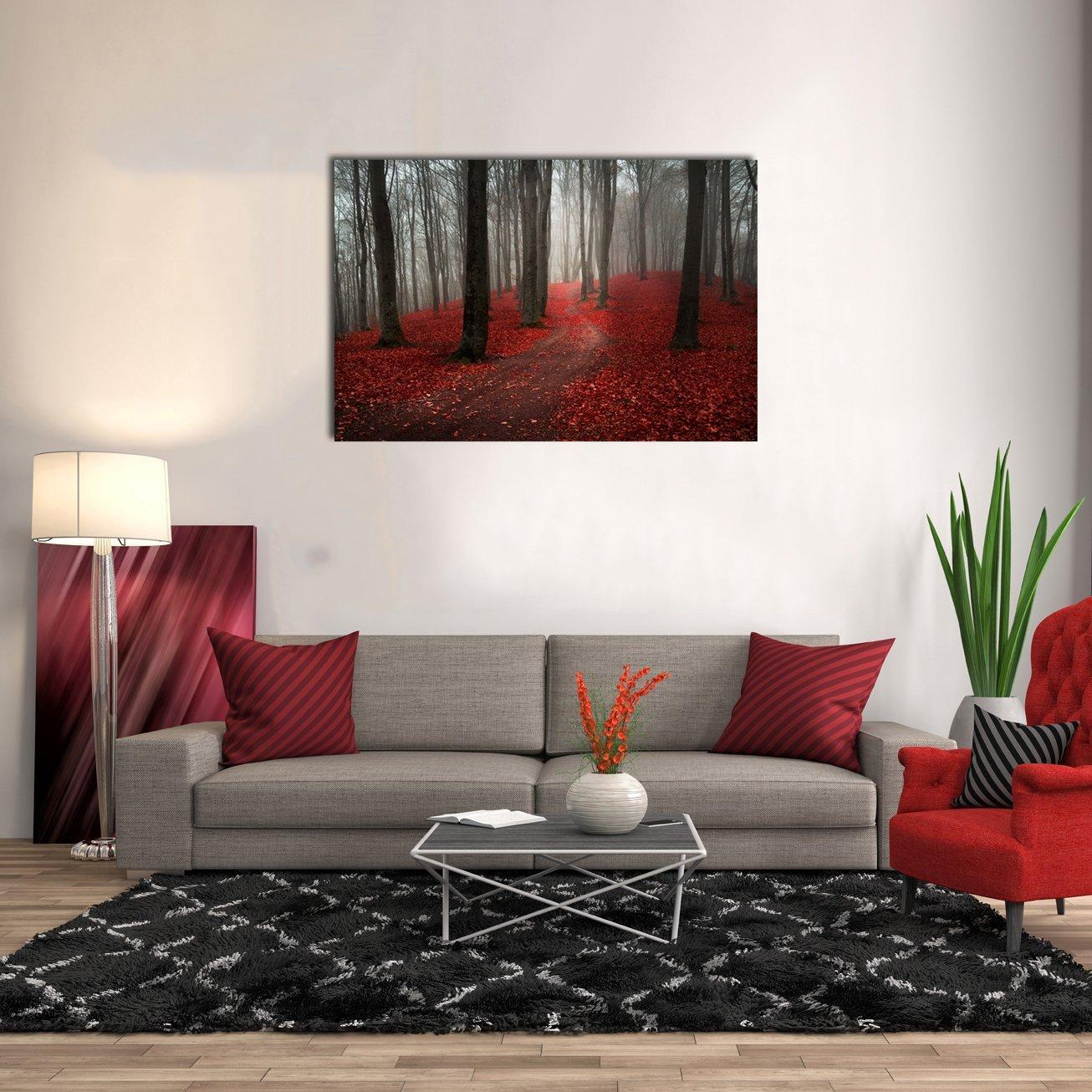 Amazon.de: Groß Schwarz Weiß Rot Forest Gemälde Moderne Landschaft ...