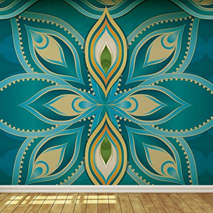 Blue Teal And Gold Exotic Indian Pattern Wallpaper Mural