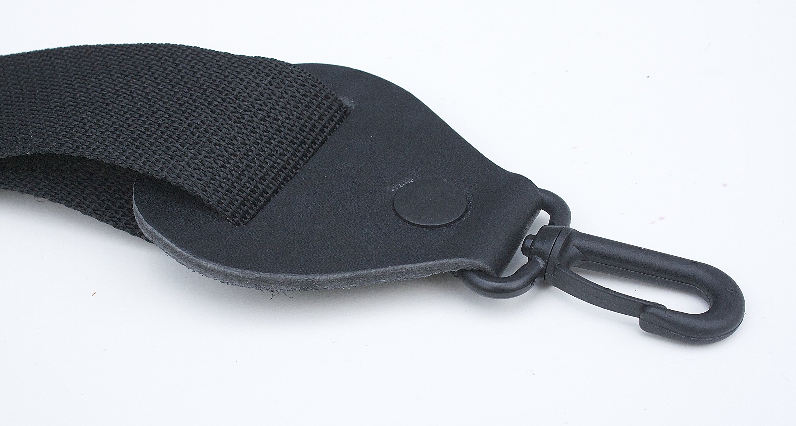 Banjo Strap BLACK Nylon Solid Leather Ends Quick & Easy Clips Quality Made In U.S.A. Since 1978
