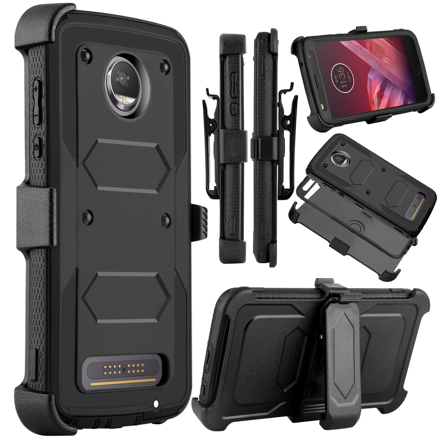 Venoro Moto Z2 Force Case, Moto Z2 Play Case, Heavy Duty Shockproof Full Body Protection Rugged Hybrid Case Cover with Swivel Belt Clip and Kickstand for Motorola Z Force 2017 (Black)
