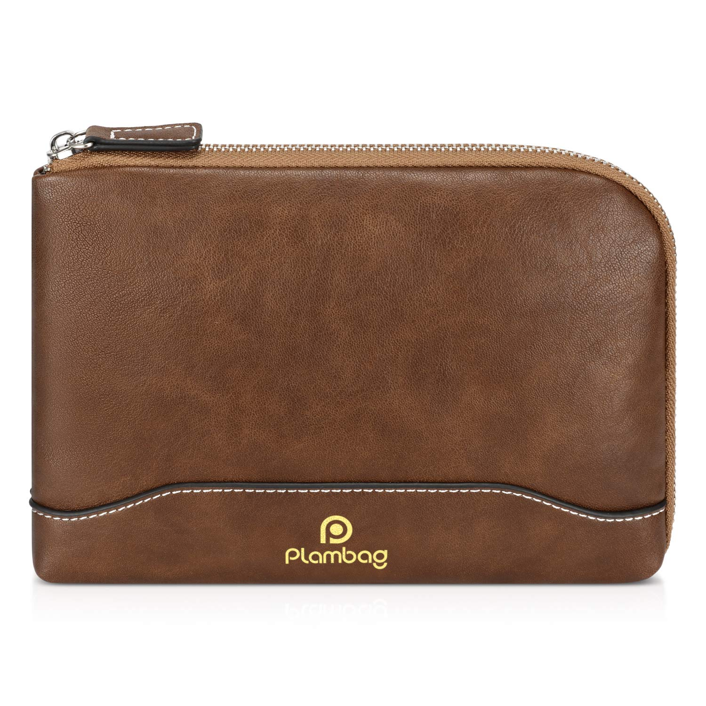 5891a21559ed Plambag PU Leather Toiletry Bag Set, Cosmetic Travel Bag, Portable Makeup  Bag(Brown)