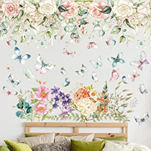 Colorful Flower Wall Decals Removable Kids Room Wall Decor Watercolor Garden Butterflies Wall Stickers DIY Butterfly Flower Art Decor for Baby Girls Boys Bedroom Nursery Living Room Wall Corner