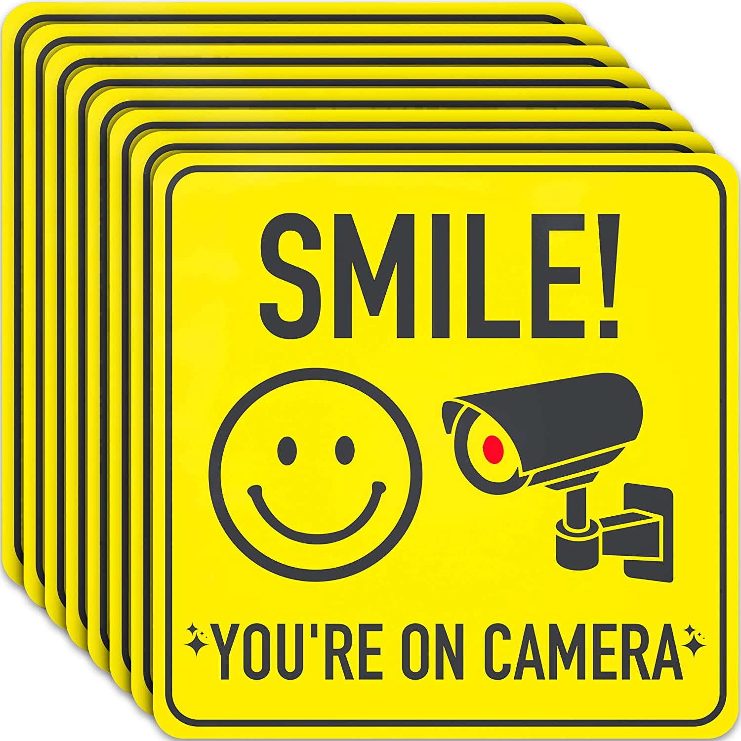 Video Surveillance Security Sign Stickers - 7 X 7 Inch - 8 Pack - Polite Smile You're On Camera Signs to Prevent Trespassing on Private Property - Perfect for House, Business, Yard or Private Driveway