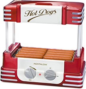 Nostalgia HDR8RR Hot Dog Warmer 8 Regular Sized, 4 Foot Long and 6 Bun Capacity, Stainless Steel Rollers, Perfect For Breakfast Sausages, Brats, Taquitos, Egg Rolls, Retro Red