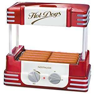 Nostalgia HDR8RR Retro Hot Dog Warmer 8 Regular Sized, 4 Foot Long and 6 Bun Capacity, Stainless Steel Rollers, Perfect For Breakfast Sausages, Brats, Taquitos, Egg Rolls