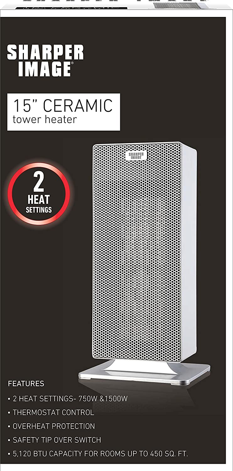 "Amazon.com: Sharper Image 15"" ETL Certified Ceramic Tower Heater: Home & Kitchen"