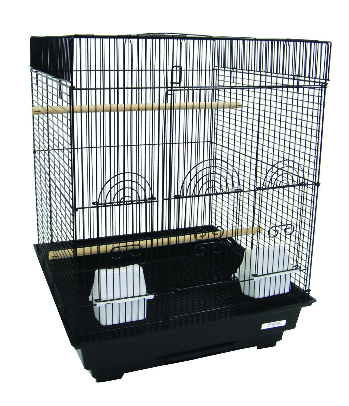 YML A5924 3/8-Inch Bar Spacing Flat Top Small Bird Cage, 18-Inch by 18-Inch, Black A5924BLK