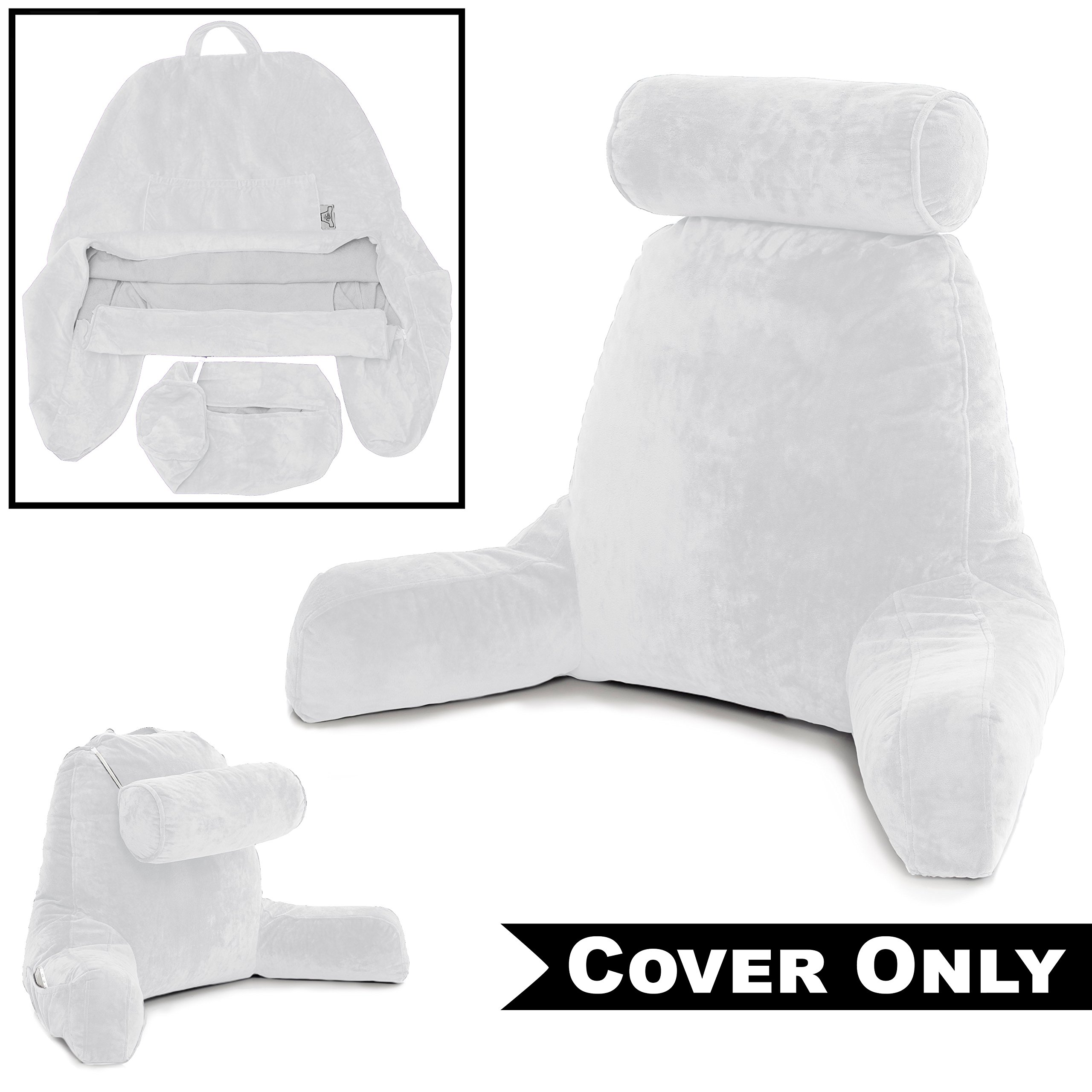 Husband Pillow White COVER ONLY - For the Bedrest Cover Set - Support Bed Backrest Covers, Micro Plush Cover Including Detachable Neck Roll Pillow Cover