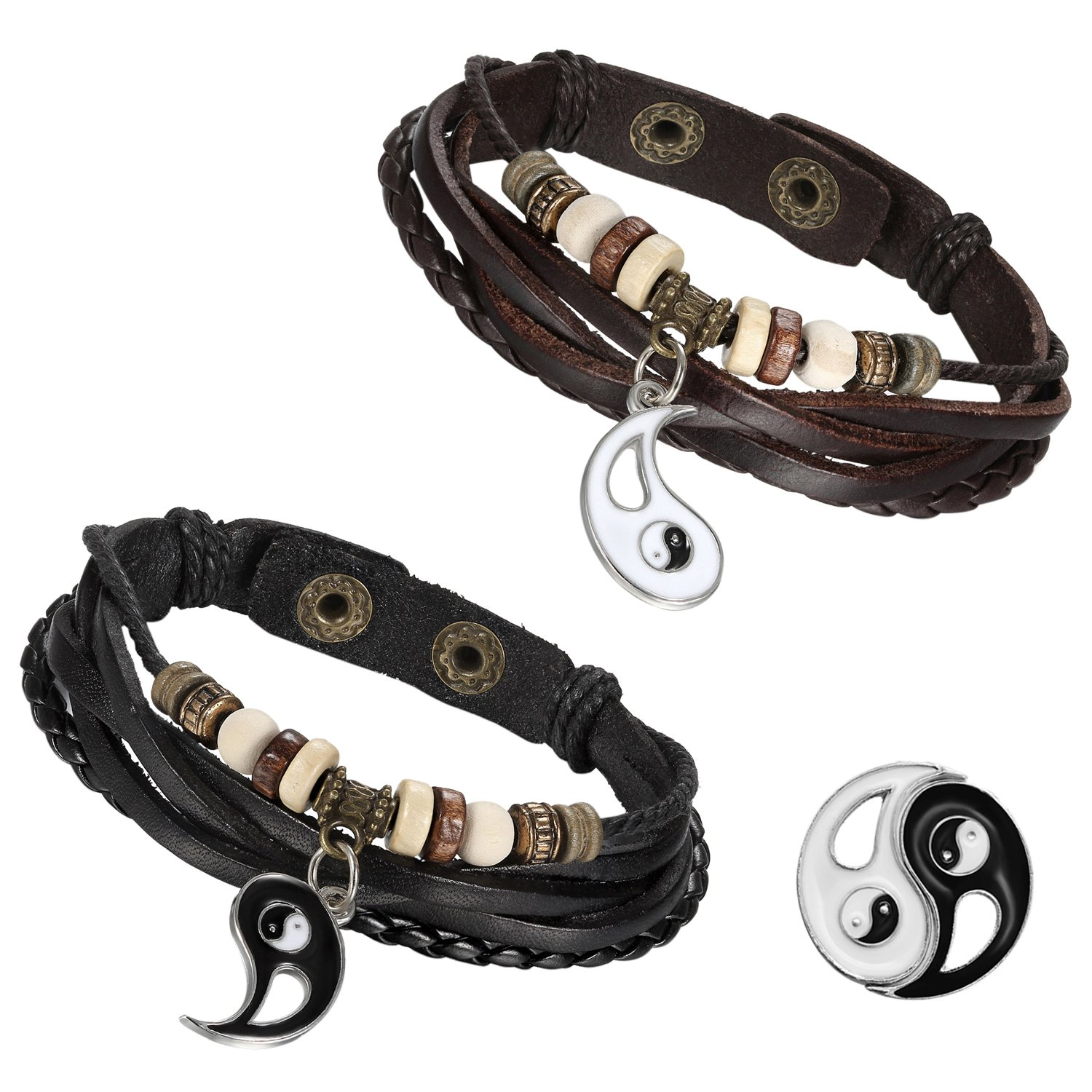 Flongo Men's Womens 2PCS Vintage Taichi Yin Yang Matching Beads Leather Strap Cuff Bracelet, 8.7 inch F047007