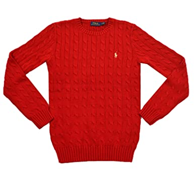 1b6ac12bf3649 Ralph Lauren New Polo Cable Knit Jumper Sweater Womens - Red with Gold Logo  (Large)  Amazon.co.uk  Clothing
