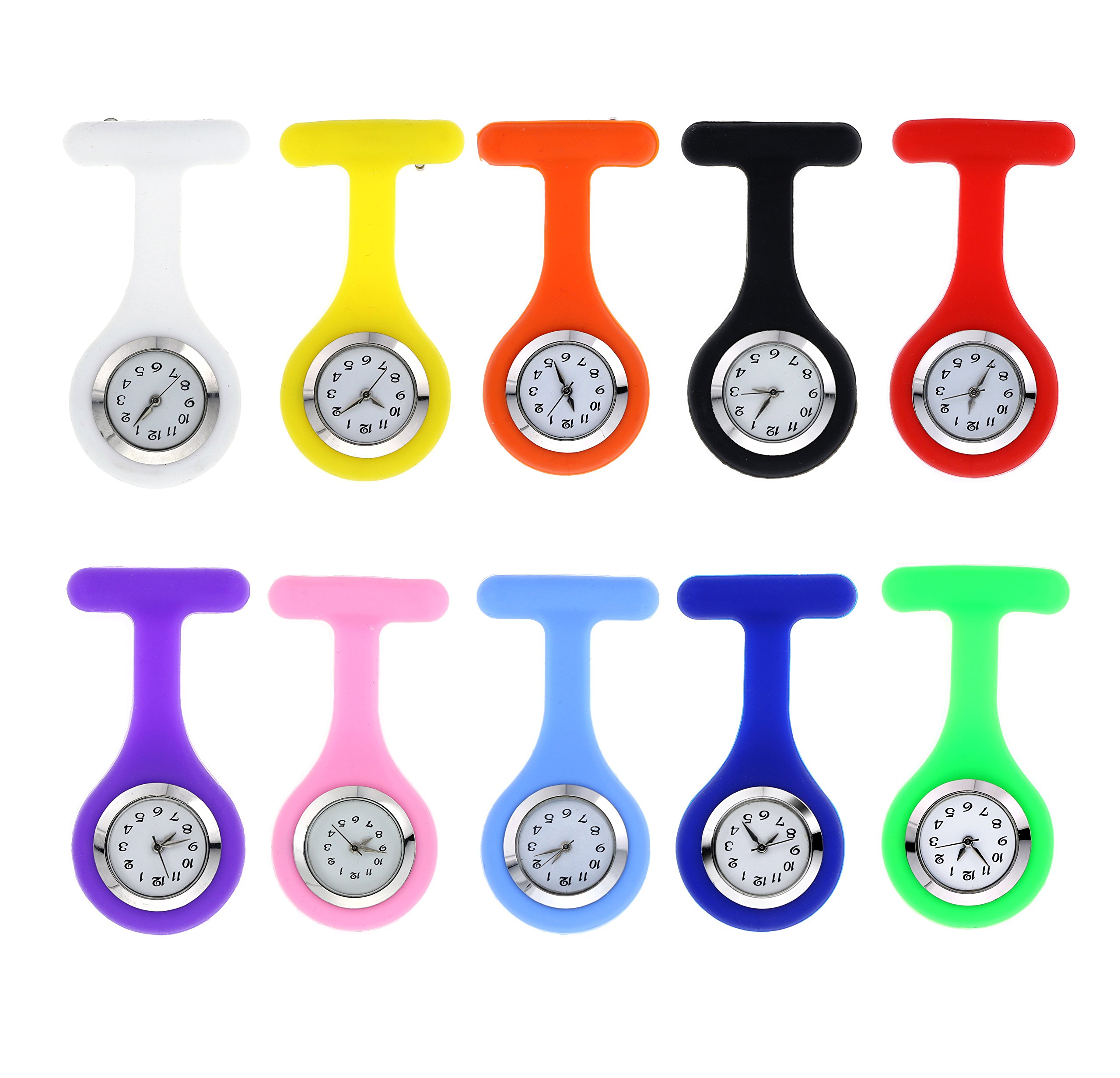 (Pack of 10)Silicone Jelly Rubber Nurse Brooch Fob Watch Lapel Pin Quartz Movement Watch