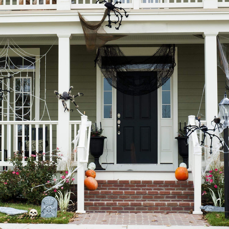 30 x 72 Pulgadas Puertas Decoraciones de Halloween Espeluznantes Patio Exterior Tela de Gasa Espeluznante Paquete de 8 Tela Negra Espeluznante Tela Espeluznante de Halloween