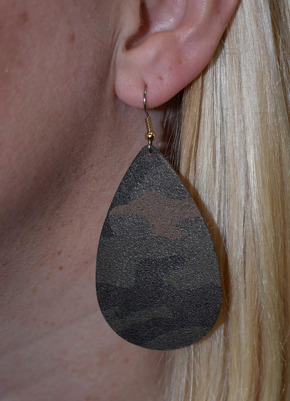 Camouflage Suede Leather Large Teardrop Earrings by Laguna LeatherWear