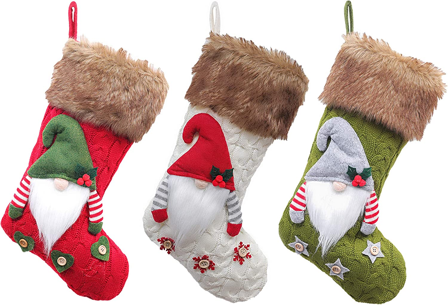 Aucess Large Christmas Decoration Stockings Gnome Santa Pattern Ornaments for Christmas Tree—Pack of 3