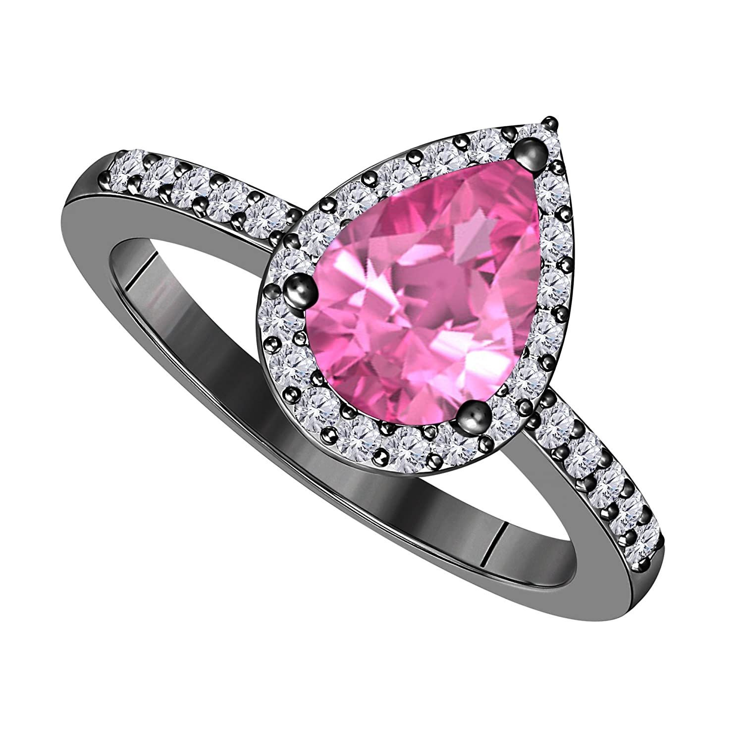 Amazon.com: 3ct Pear Shape Lab Created Pink Sapphire Cubic Zirconia ...