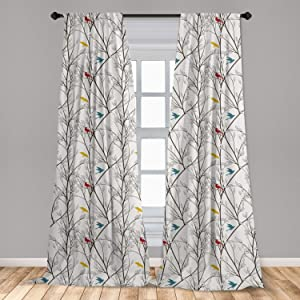 """Lunarable Birds Window Curtains, Colorful Avian Animal Silhouettes on Tree Branches Autumn Season, Lightweight Decorative Panels Set of 2 with Rod Pocket, 56"""" x 63"""", Yellow Petrol"""