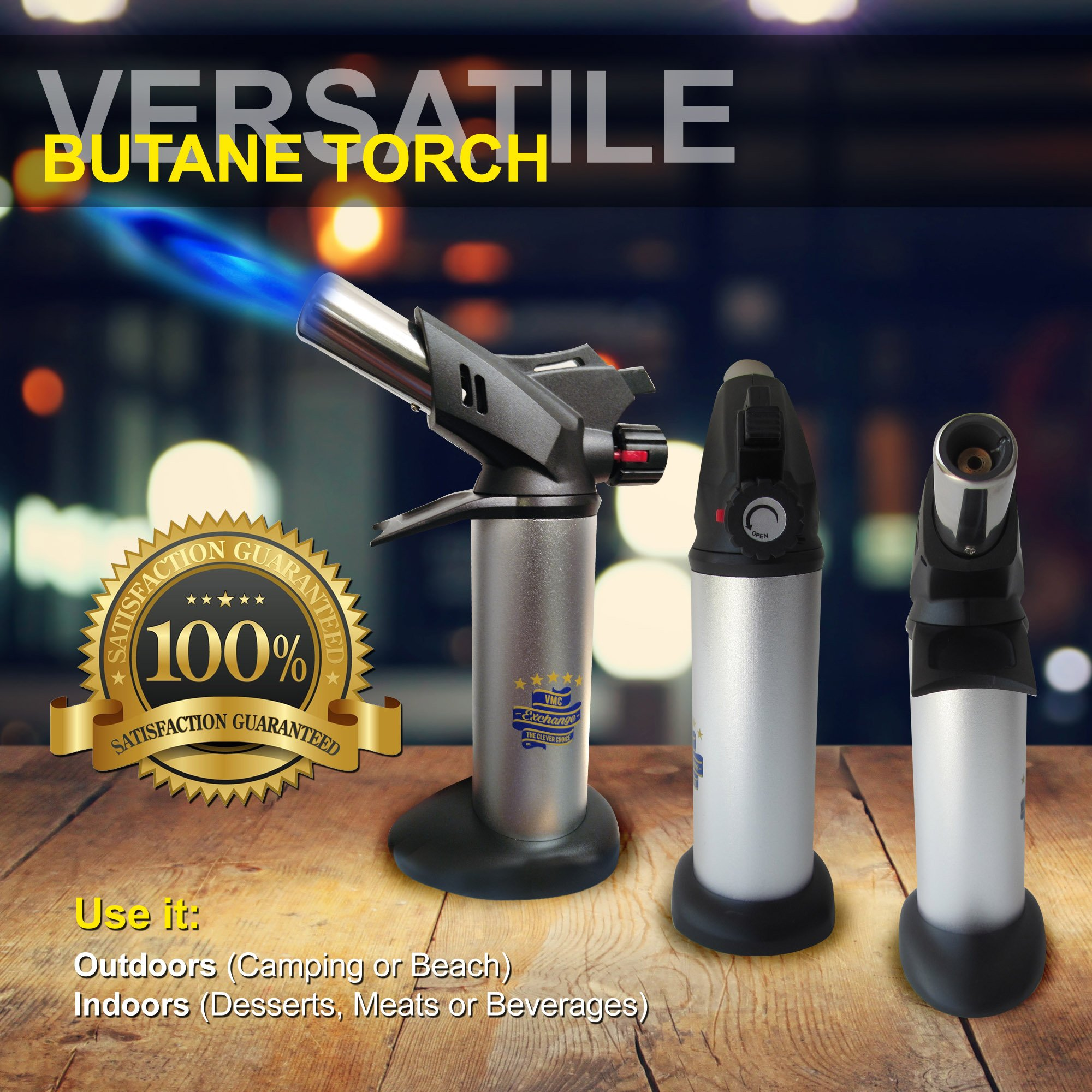 VMC Exchange Professional Butane Torch - Safest Refillable Portable Culinary Kitchen Blow Torch Lighter. Adjustable Flame for Crème Brûlée, Cooking Food, Searing, Blazing, Camping, Welding, BBQ & More by VMC Exchange (Image #3)