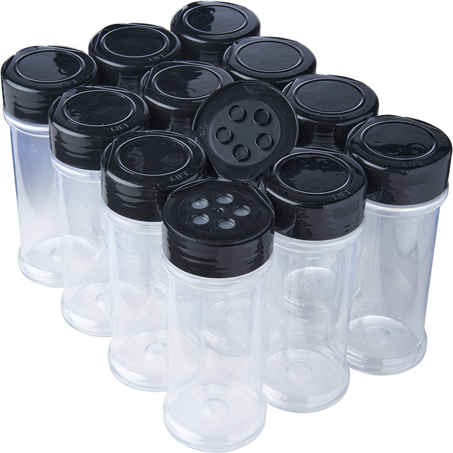 12 Pack of 6 Oz. Empty Clear Plastic Spice Bottles with Black Top Lids For Storing and Dispensing Salt, Sweeteners and Spices - Food-Grade Spice Jars for Kitchen and Home Spice Organization