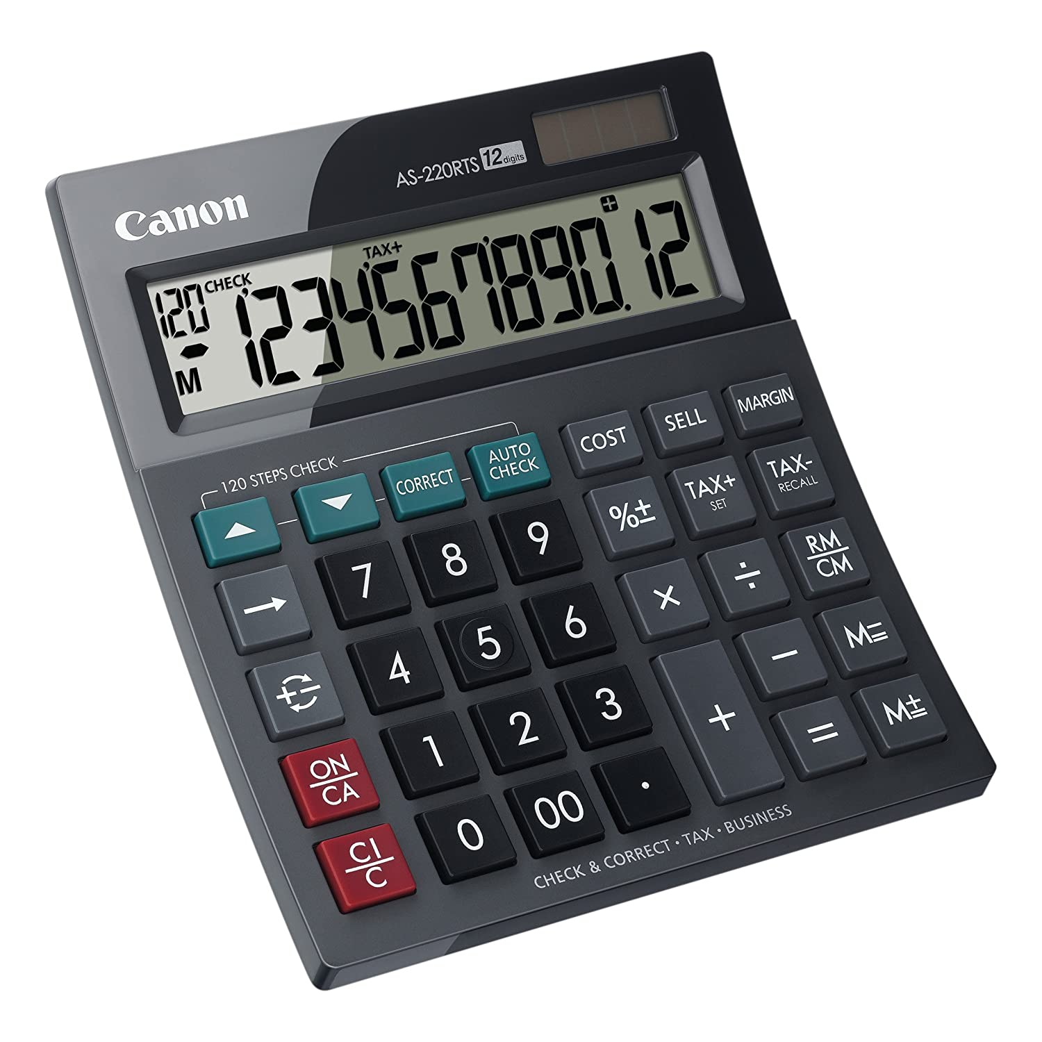 Tilted Display Battery Canon AS 220 RTS Professional//Desk Display Calculator Solar Energy Driven