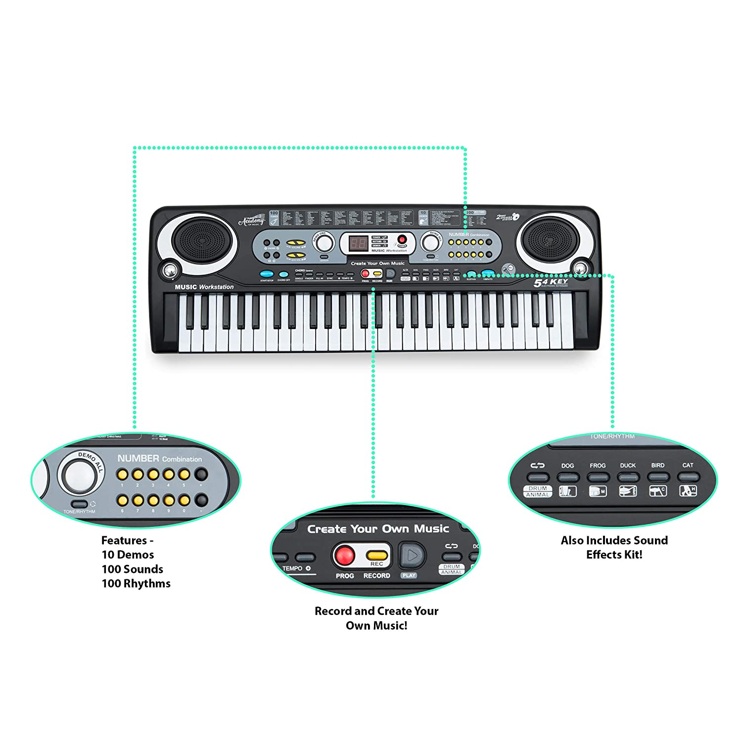 Academy of Music TY5906 Electric Keyboard for Kids 54 Key Beginner Piano Music Station