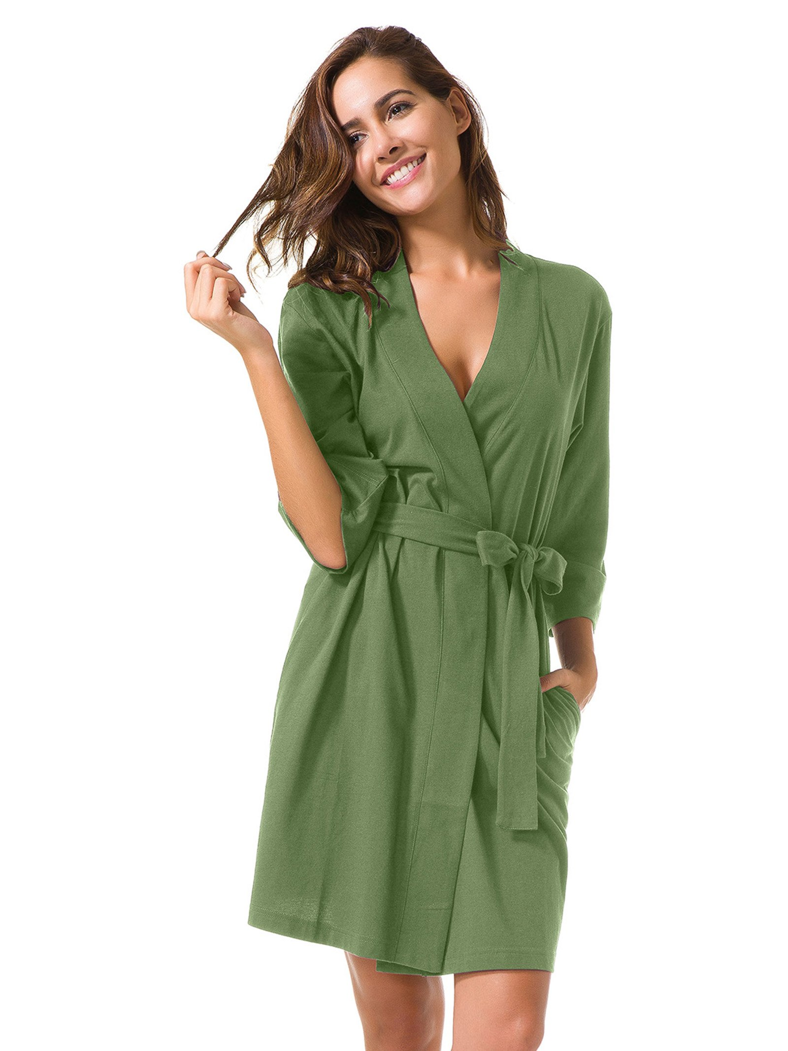 Galleon - SIORO Robe Plus Size Soft Cotton Robes Knit Terry Bathrobe  Lightweight Pajamas Lounger Short For Women Olive Green XL 99aadc283