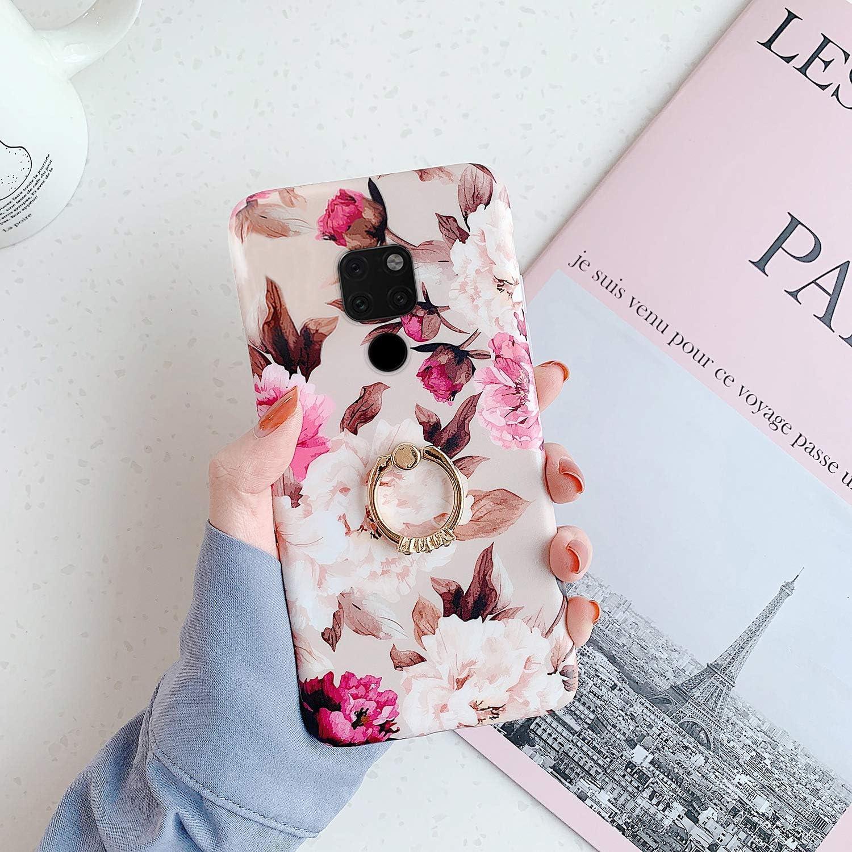 Uposao Cover Compatibile con Huawei Mate 20 Anello Supporto Glitter Brillantini Fiore Rose TPU Gel Gomma Silicone Bling Strass Ring Anello Supporto Bumper,Fiori Blu