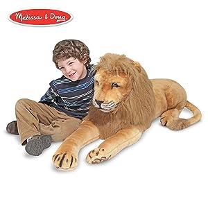 "Melissa & Doug Lion Giant Stuffed Animal (Wildlife, Regal Face, Soft Fabric, 22"" H x 76"" W x 15"" L)"
