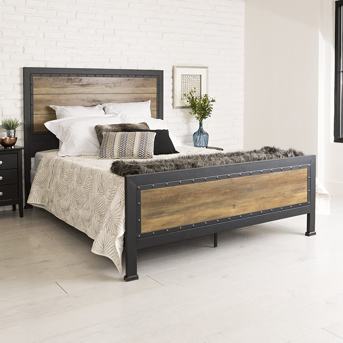 Home Accent Furnishings New Rustic Queen Industrial Wood and Metal Bed - Includes Head and Footboard
