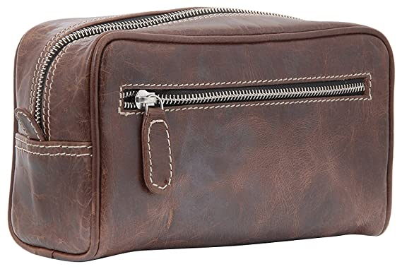 a03b38ad035b Amazon.com  Silkroute Craft Leather Toiletry Bag For Men (Dopp Kit)  featuring Travel Bottles (crunchy brown)  Clothing