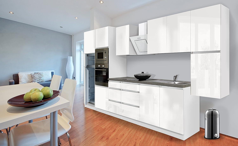 respekta Premium grifflose Küchenzeile Küche 385 cm weiss Hochglanz Kühlkombi