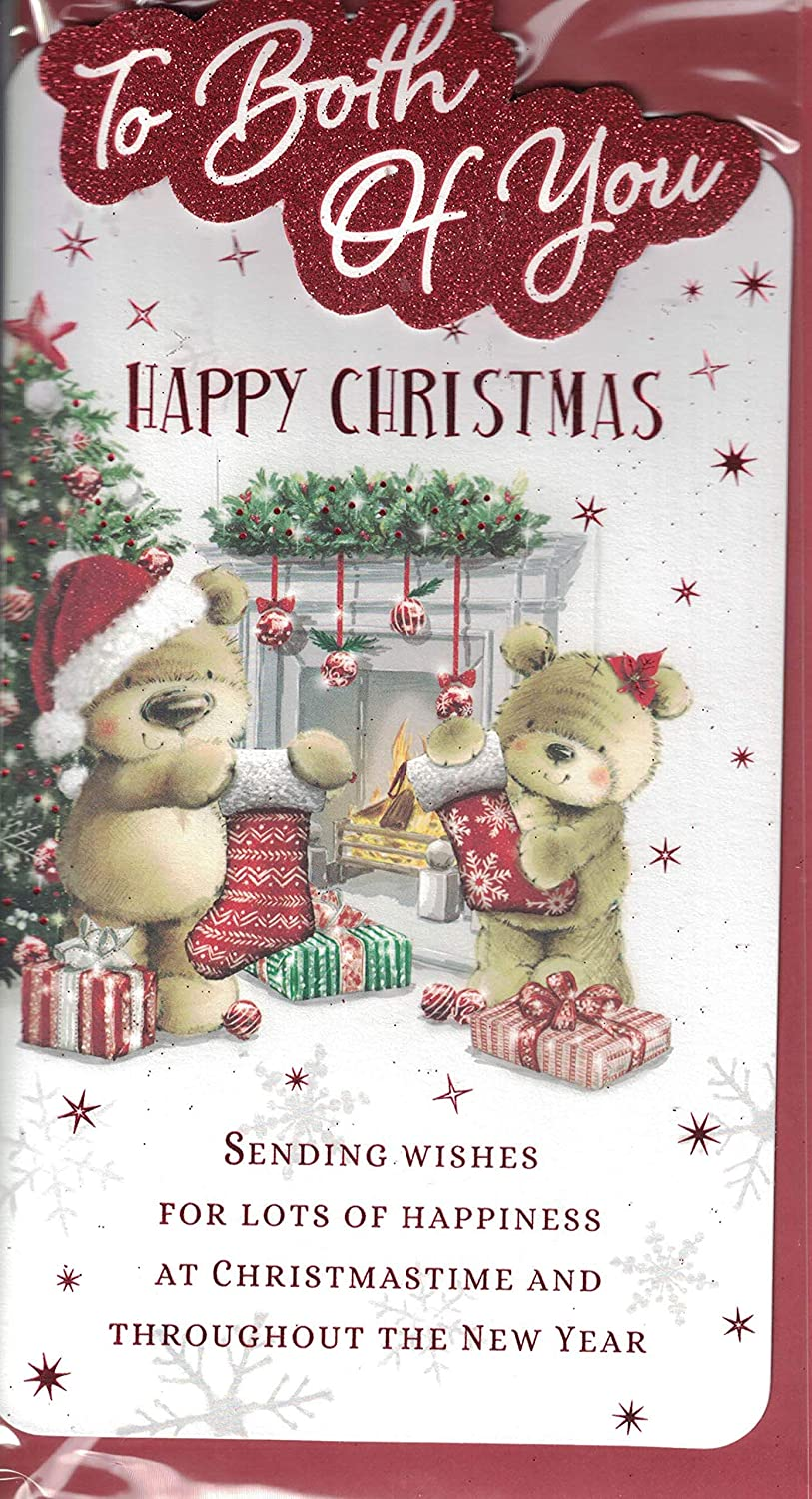 To Both Of You Christmas Card - To Both Of You Merry Christmas - Bears Decorating Xmas Tree Cute Modern Design Lovely Verse Quality Slim Card by Prelude