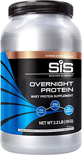 Science in Sport Overnight Protein, 25g Protein Blend, Whey Protein Isolate and Casein Protein, 2.2lb Cookies and Cream Protein – 28 Servings