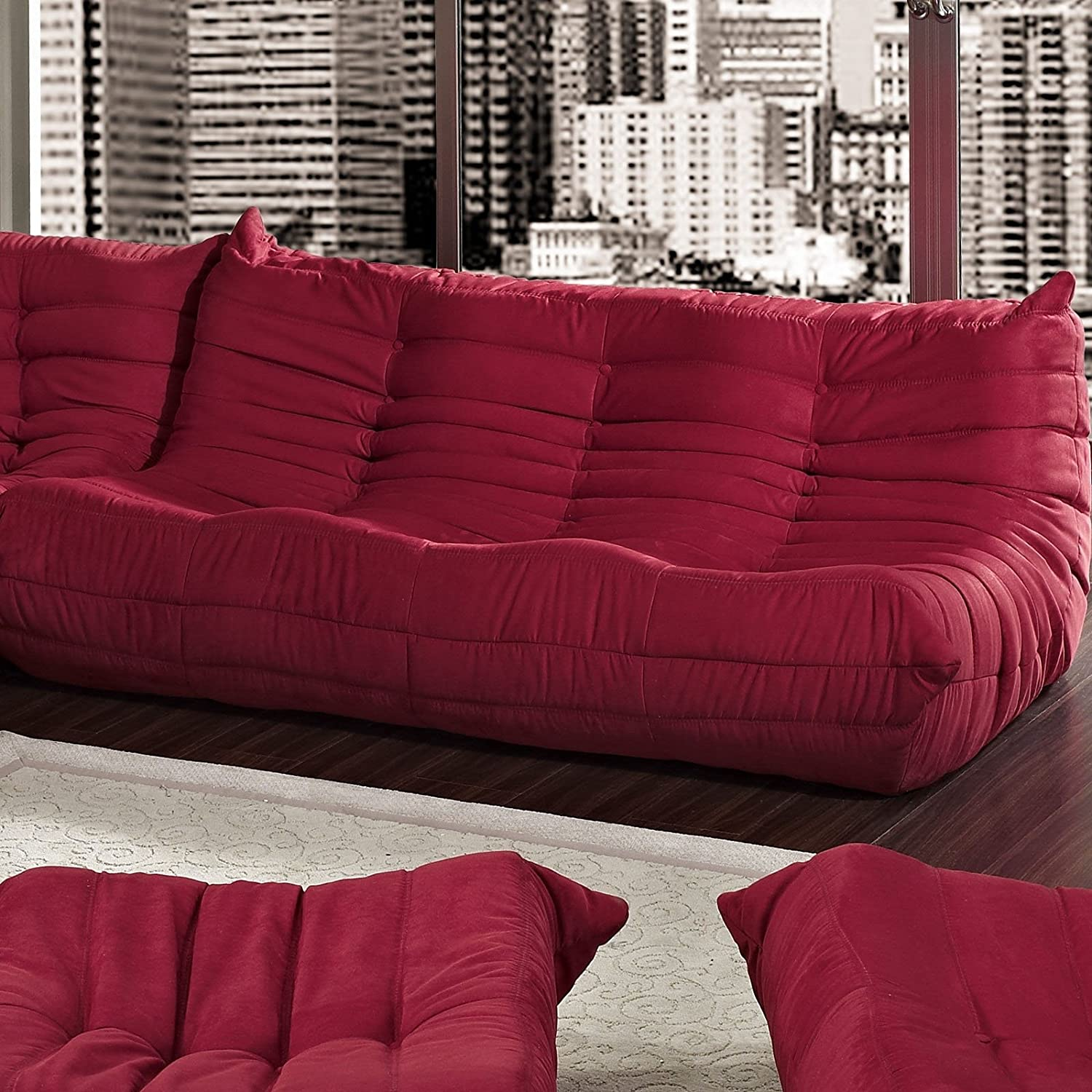 amazoncom modway waverunner modular sectional sofa in red kitchen u0026 dining : red sofa sectional - Sectionals, Sofas & Couches