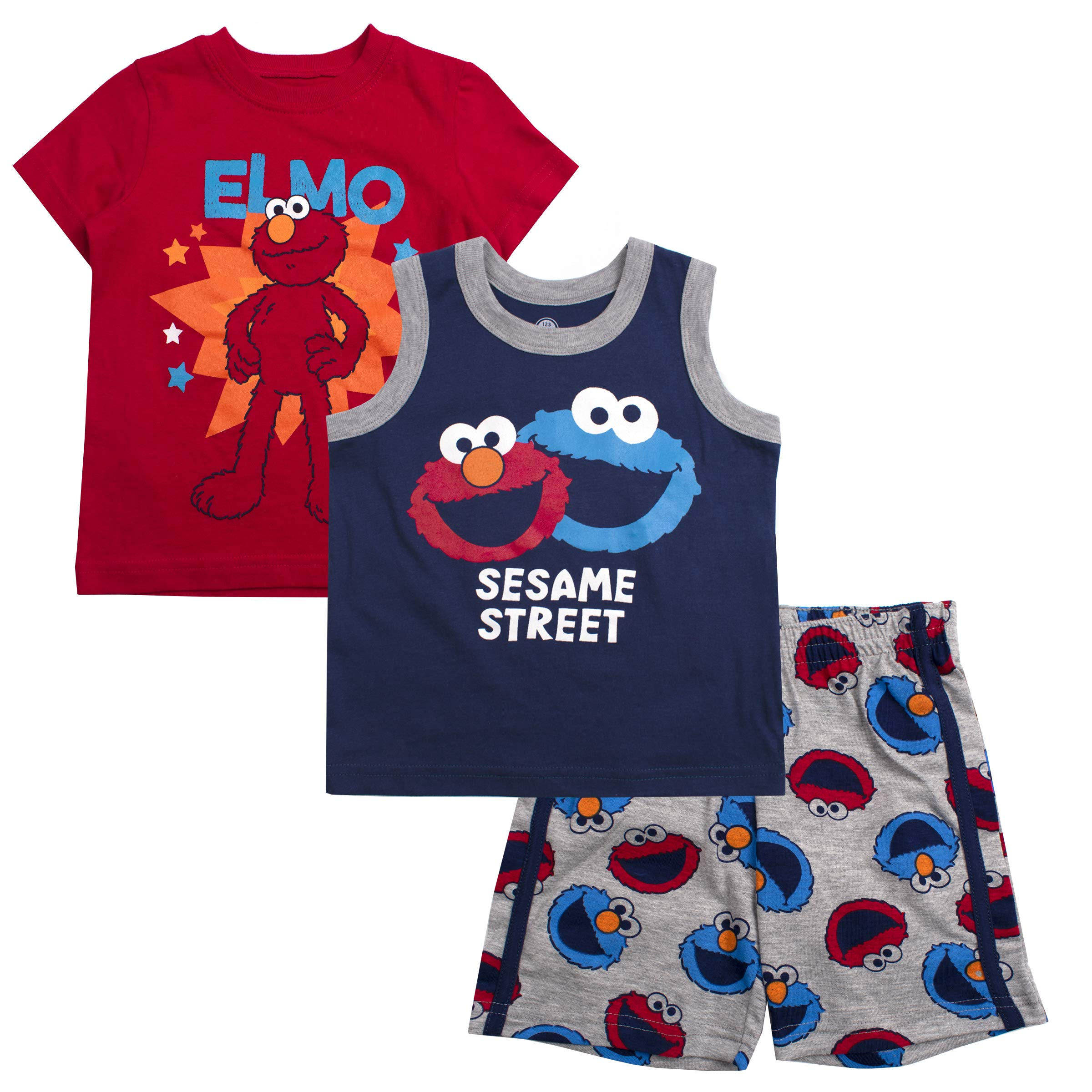 Sesame Street Boys 3PC Shirts and Short Set: Elmo & Cookie Monster
