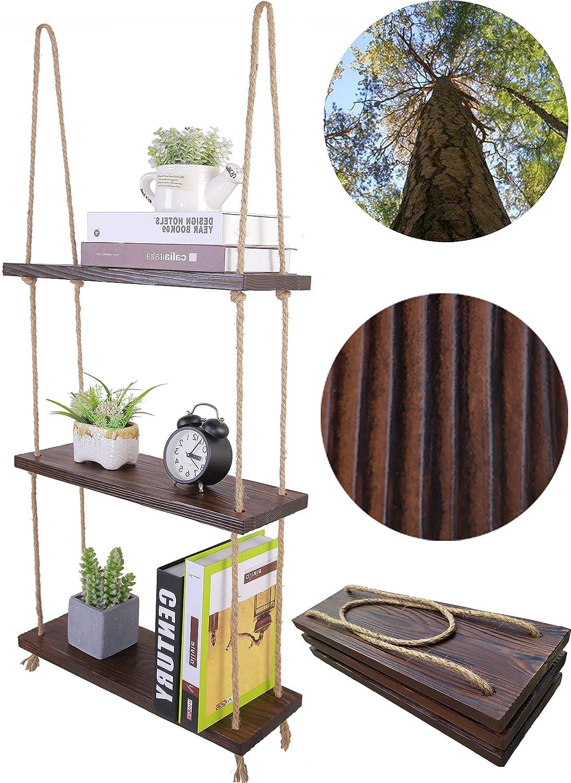 HXSWY Rustic Wood Hanging Rope Shelves Bathroom Kitchen Window Shelf for Plants Indoor Wall Floating Shelves Espresso