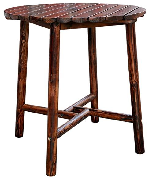Leigh Country TX 93753 Char Log Slatted Round Bar Table
