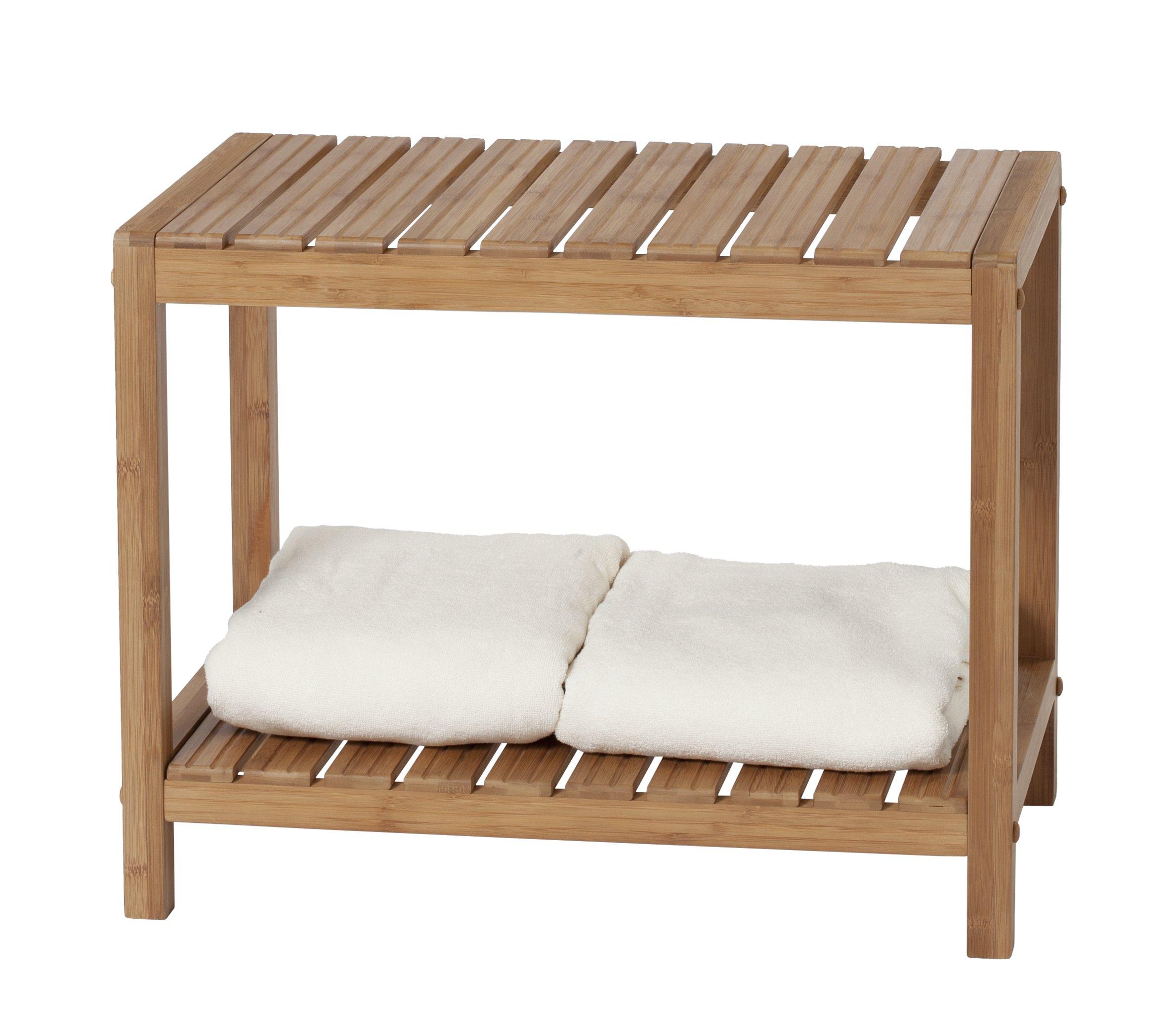 Medical Spa Storage Teak Bamboo Shower Bench Safety Bath