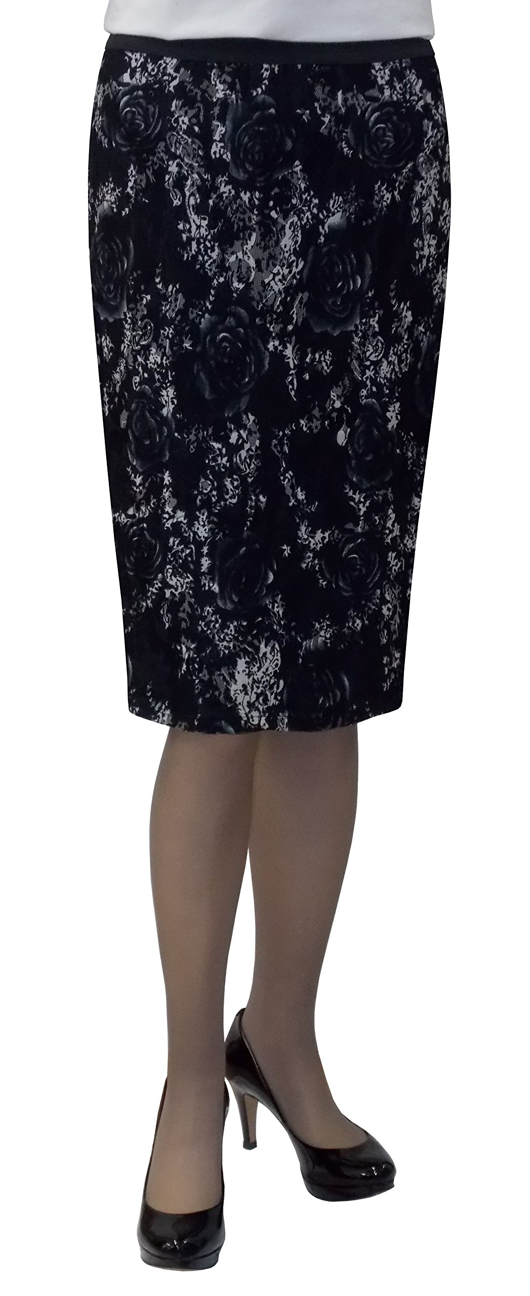 Baby'O Women's Black Floral Stretch Lace Pencil Skirt Medium