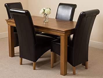 french rustic solid oak 150 cm dining table 4 black montana dining rh amazon co uk