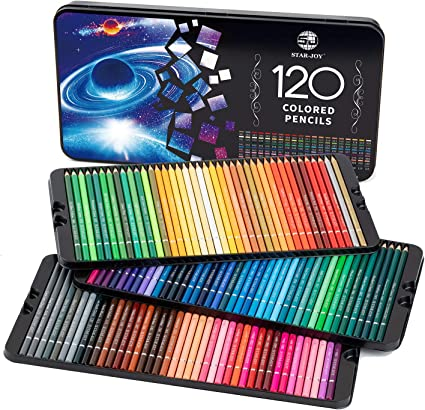 SJ STAR-JOY 72 Colored Pencils Professional Set for Adult Coloring Books Oil based soft core Premium Art Coloring Pencils with Vibrant Color Perfect Holiday Gifts for Artist Drawing